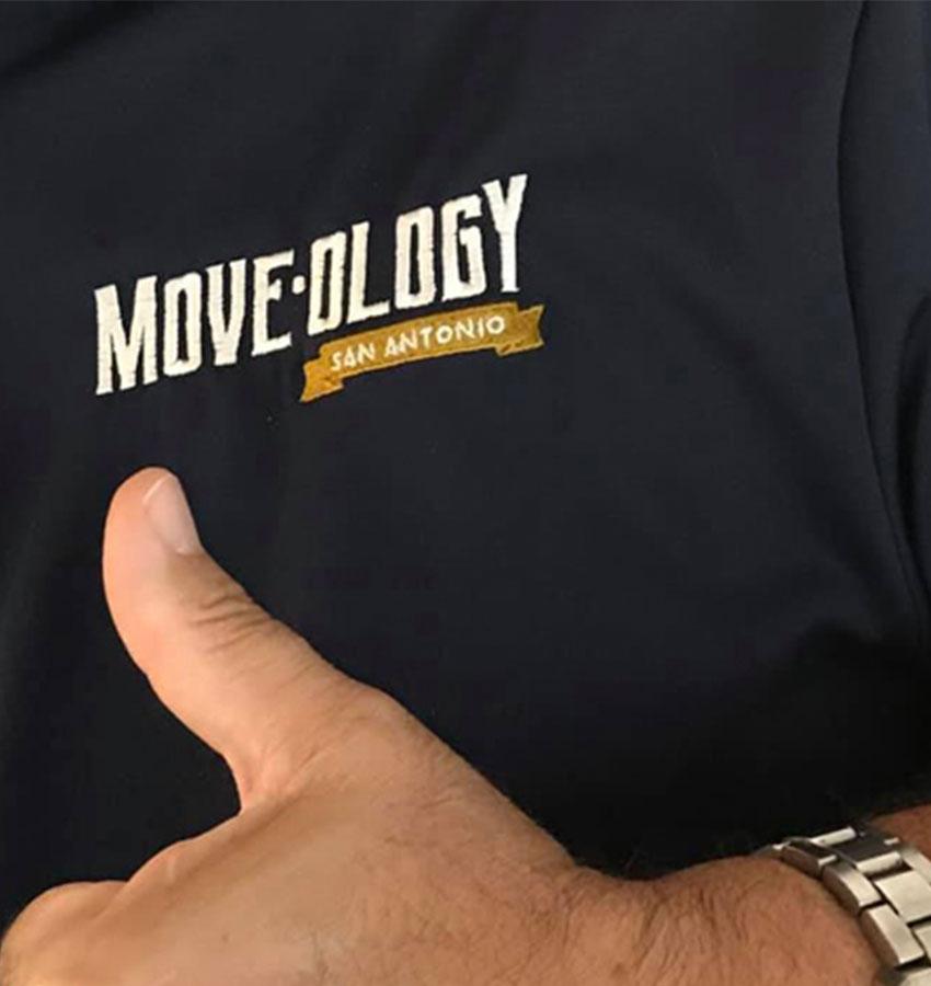 Moveology San Antonio t-shirt and thumbs up