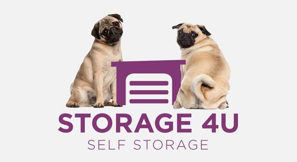 Storage 4U logo with friendly pugs