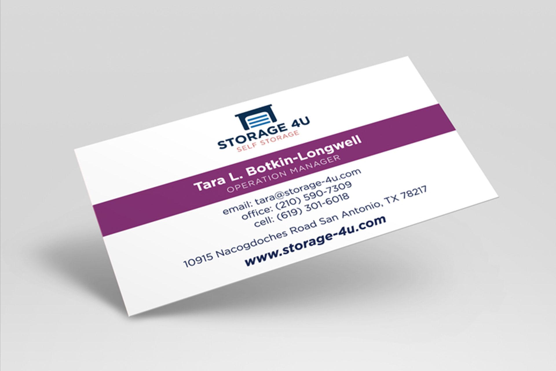 Storage 4U Self Storage business card