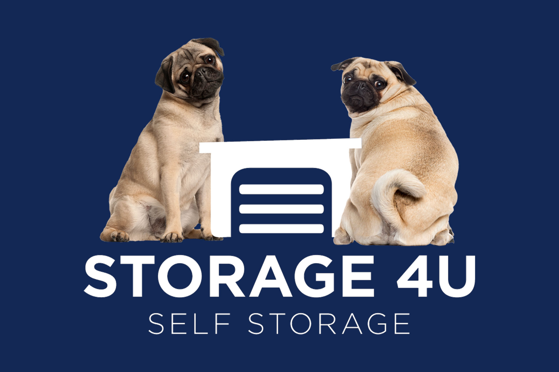 Storage 4U Self Storage logo with two friendly pugs
