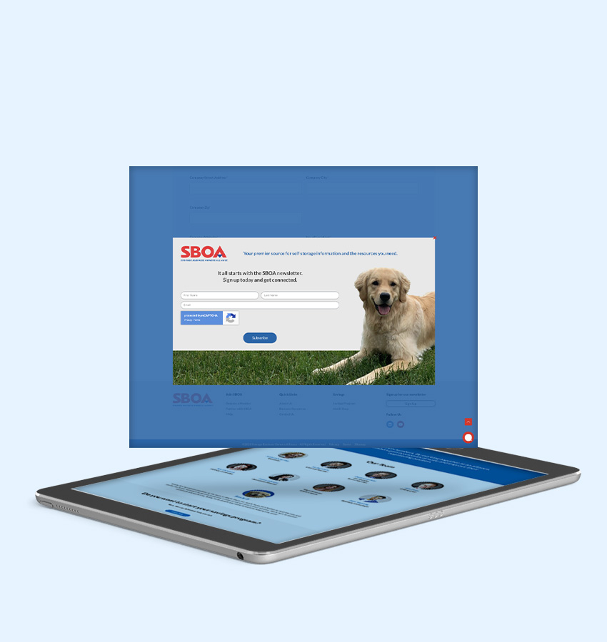 Sboa popup mockup from a tablet