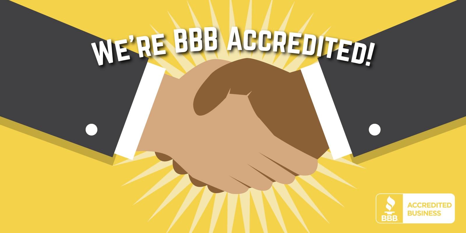 Better Business Bureau Accreditation handshake graphic