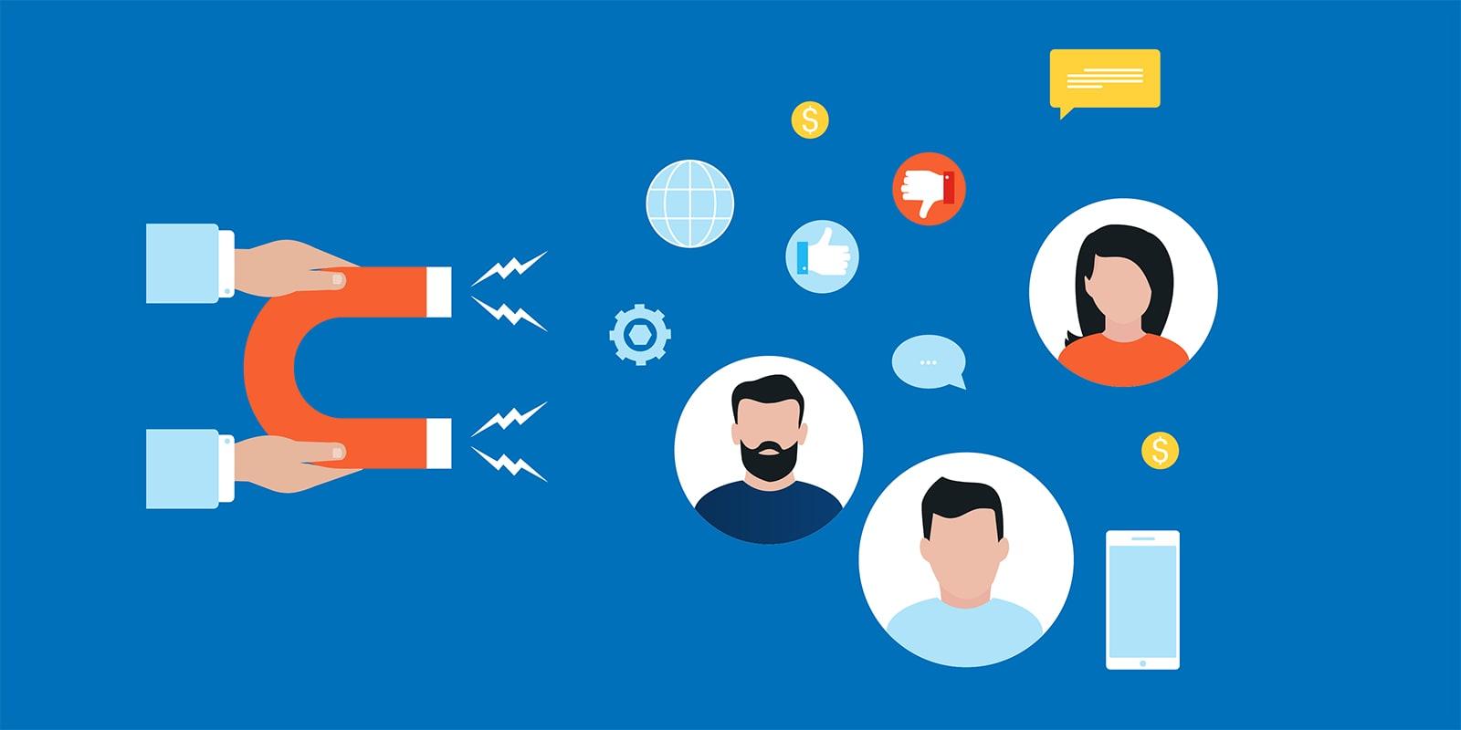Social media marketing attracting customers graphic
