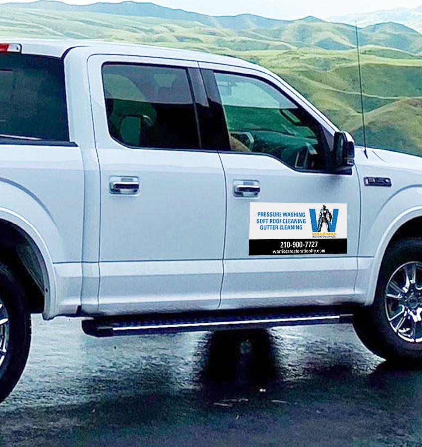 Warriors Restoration Services truck signage